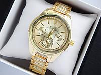 Женские наручные часы Rolex золотого цвета с граненным стеклом и стразами на браслете, фото 1