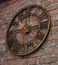 Часы настенные металлические в стиле лофт - Roman Gold 40 cm, фото 2