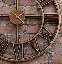 Часы настенные металлические в стиле лофт - Roman Gold 40 cm, фото 3