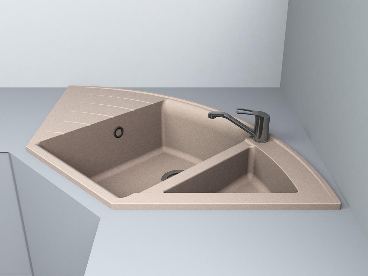Кухонная мойка угловая искусственный камень ГРАНИТ Miraggio Europe беж