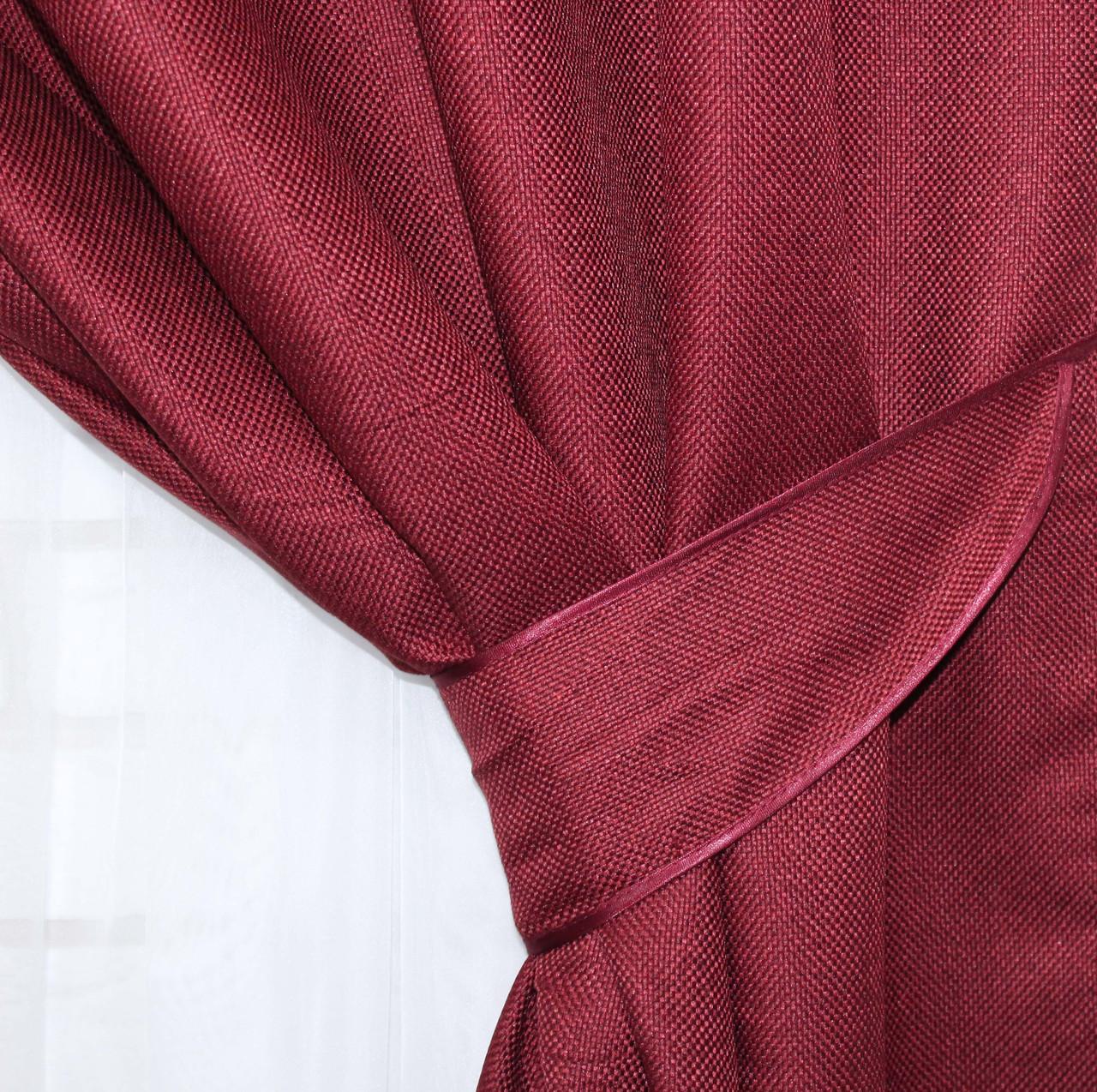 "Светонепроницаемая ткань блэкаут с фактурой ""Лен мешковина"". Высота 2,8м. Цвет бордовый. 319ш"