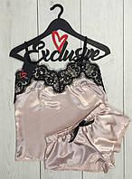 пижама женская из атласа с кружевом