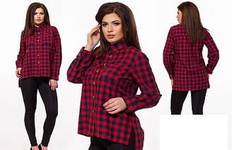 Рубашка женская коттоновая в клетку Большого размера Черно-красная