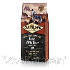 Сухой корм для взрослых собак Carnilove Lamb & Wild Boar ягнёнок и дикий кабан 1,5 кг