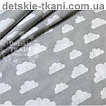 "Лоскут ткани ""Облака разного размера"" белые на сером фоне № 575а размер 41*144, фото 2"