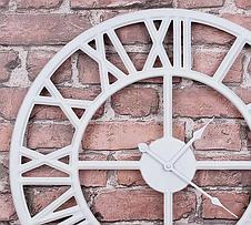 Часы настенные металлические в стиле лофт - Roman White 60 cm, фото 3