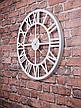 Часы настенные металлические в стиле лофт - Roman White 60 cm, фото 2
