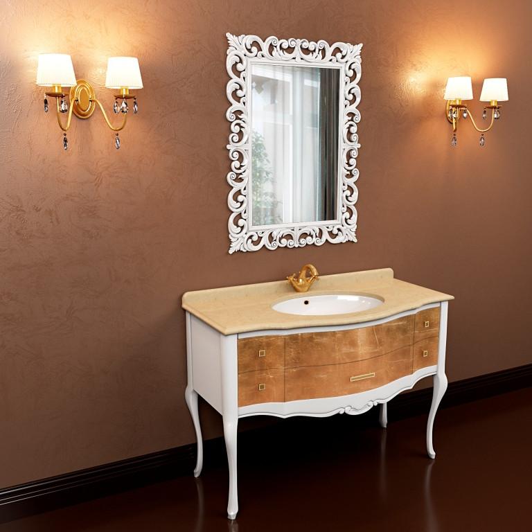 Тумба для ванной комнаты Marsan Angelique 910 в цвете фасад золото/серебро