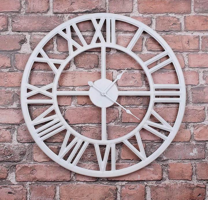 Часы настенные металлические в стиле лофт - Roman White 80 cm