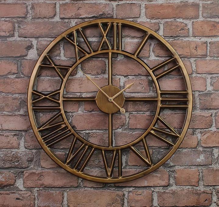 Часы настенные металлические в стиле лофт - Roman Gold 80 cm