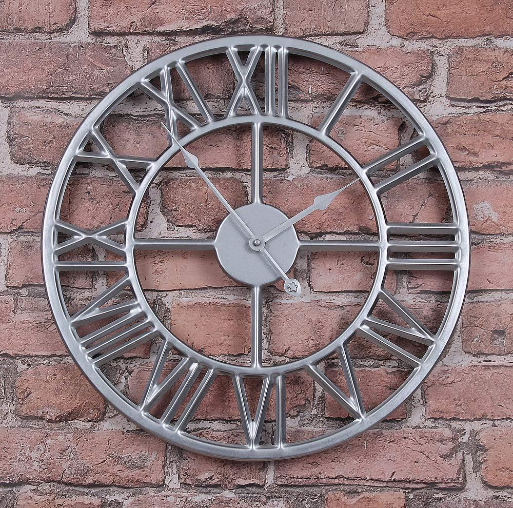 Часы настенные металлические в стиле лофт - Roman Silver 60 cm