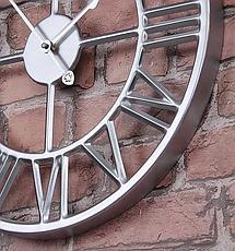 Часы настенные металлические в стиле лофт - Roman Silver 60 cm, фото 2