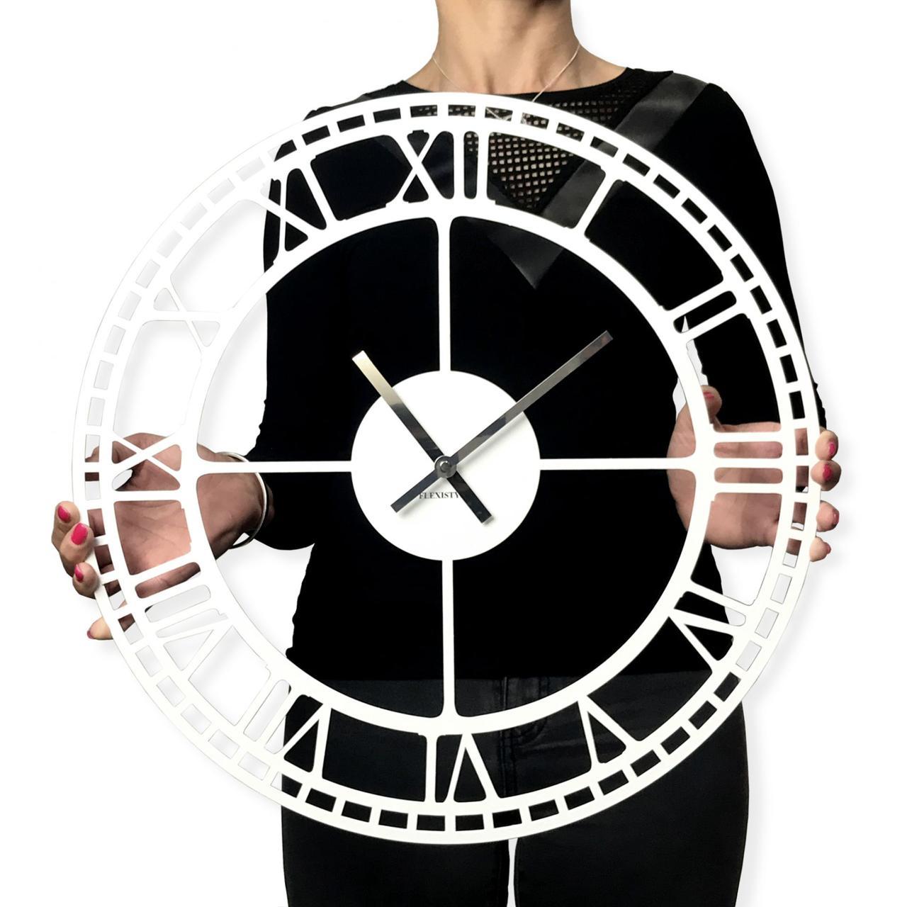 Часы настенные металлические в стиле лофт - Vintage White 60 cm