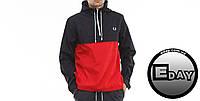 Чёрно-красная куртка ветровка анорак Fred Perry размер Л!
