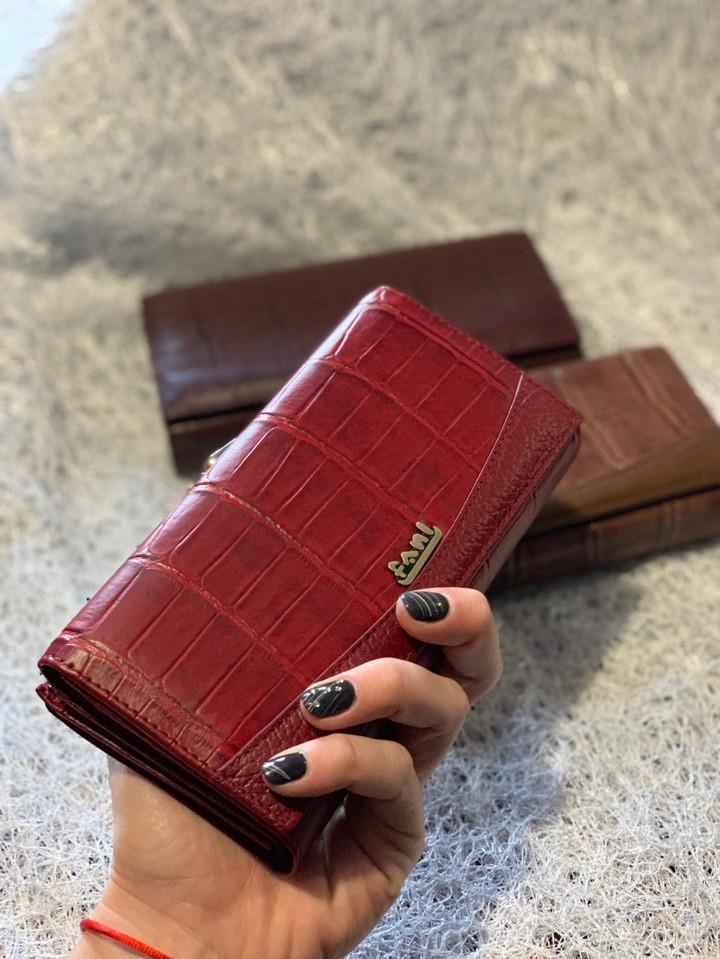 Кожаный бордовый кошелек «1087»