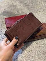 Кожаный кошелек шоколадного цвета «1088», фото 3