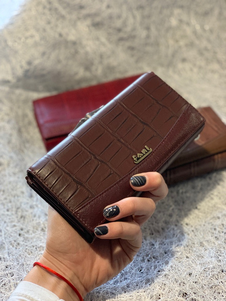 Кожаный кошелек шоколадного цвета «1088»