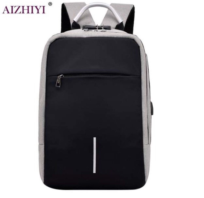 Рюкзак  для ноутбука с USB портом светло серый.