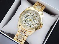 Женские кварцевые наручные часы Michael Kors золотого цвета, стразы под стеклом, серебристый циферблат, фото 1