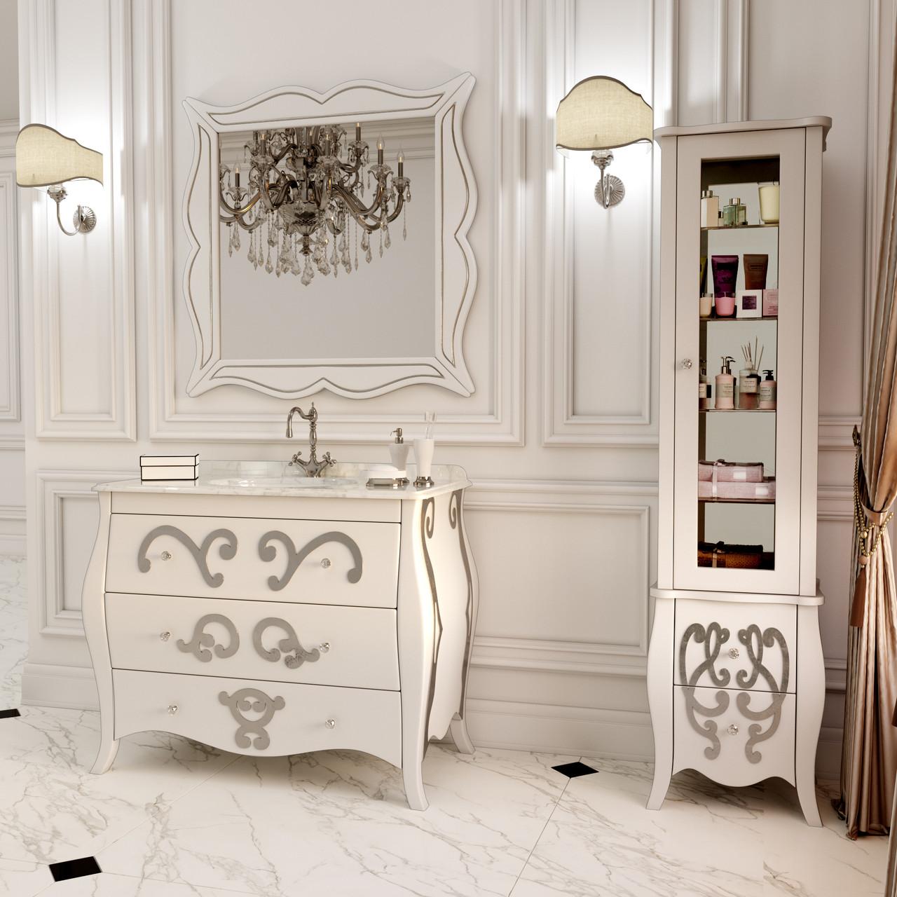 Тумба для ванной комнаты Marsan Arlette 900 рисунок серебро