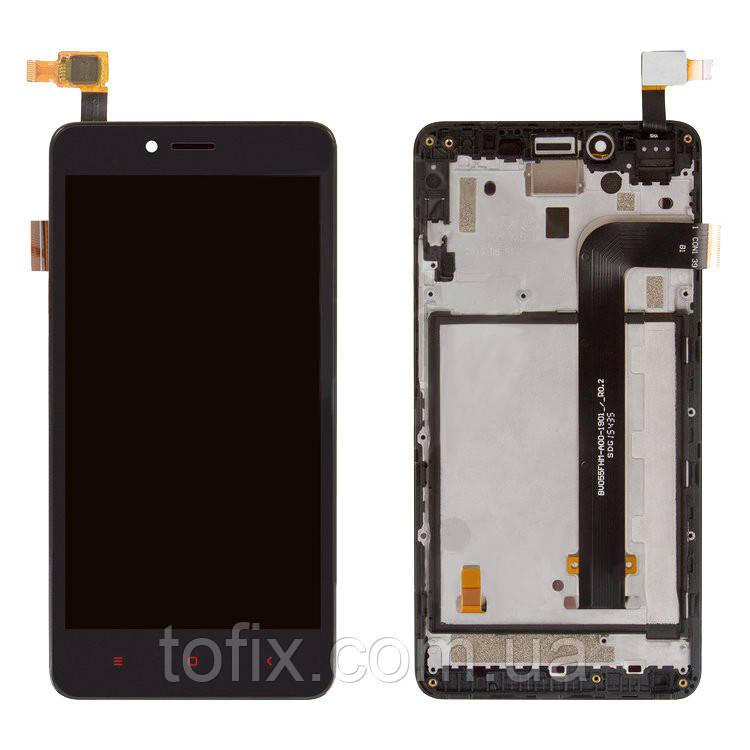 Дисплей для Xiaomi Redmi Note 2, модуль в сборе (экран и сенсор), с рамкой, черный, оригинал