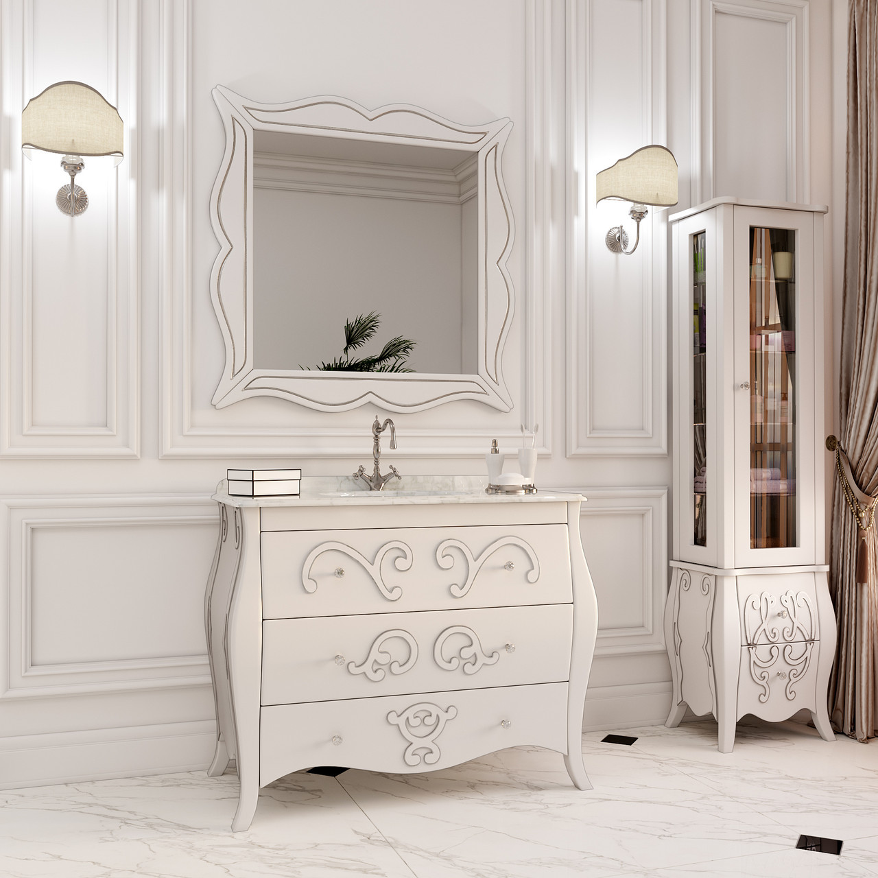Тумба для ванной комнаты Marsan Arlette 1050 контур серебро