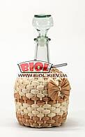 """Бутылка 1,5л стеклянная """"Фуфырек"""" со стеклянной пробкой оплетенная кукурузой"""