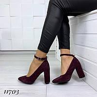 Туфлі Angelica жіночі велюрові на підборах з ремінцем на щиколотці, фото 1