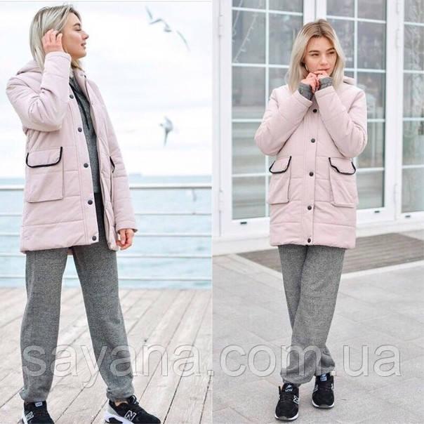 Женская зимняя куртка с капюшоном в расцветках. ОС-1-0918