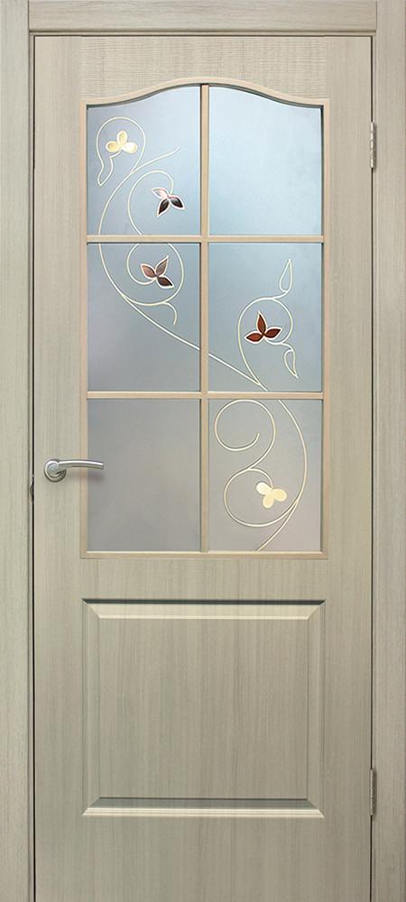 Классика дверное полотно со стеклом с контурным рисунком дуб беленый
