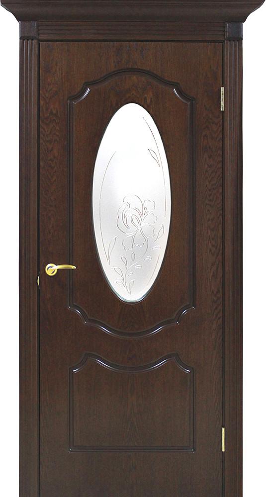 Дверное полотно шпонированное со стеклом с контурным рисунком Омис орех Lux Оливия