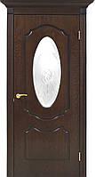 Двери шпонированные Оливия дверное полотно со стеклом с контурным рисунком орех Lux