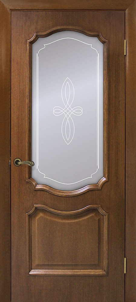 Дверне полотно шпонированное Оміс зі склом з контурним малюнком Горіх Кармен