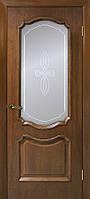 Двери шпонированные Кармен дверное полотно со стеклом с контурным рисунком орех