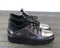 Ботиночки серебристые на шнуровке Lonza L-143-1877-1 KMTK размер 36 23,5 см, фото 1