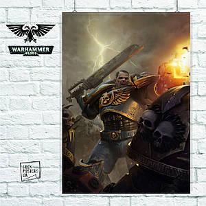 Постер Warhammer 40000, Ультрамарин в бою. Размер 60x42см (A2). Глянцевая бумага