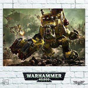 Постер Warhammer 40000 (орк в броне). Размер 60x42см (A2). Глянцевая бумага