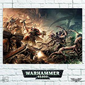 """Плакат """"Warhammer 40000, Вархаммер, генокрады, битва с тиранидами"""". Размер 60x42см (A2). Глянцевая бумага"""