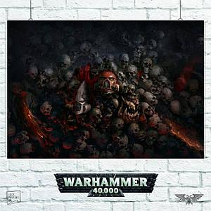 Постер Warhammer 40000 (черепа). Размер 60x42см (A2). Глянцевая бумага