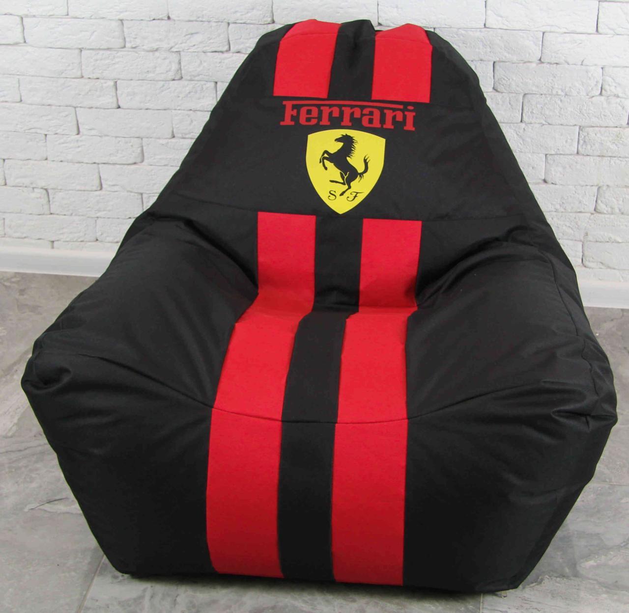 Бескаркасное кресло мешок диван Ferrari, Феррари с логотипом