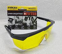 Очки защитные желтые с регулируемой черной оправкой Sigma, фото 1