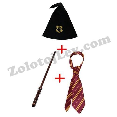 Волшебная палочка, галстук и шапка Гарри Поттера комплект