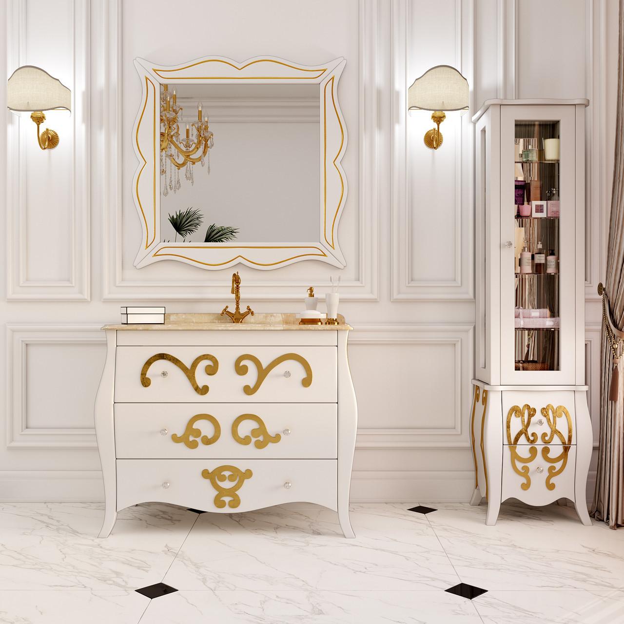 Тумба для ванной комнаты Marsan Arlette 900 рисунок золото