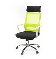 Кресло офисное на колесиках Крокус CH TILT черно-лаймового цвета из ткани
