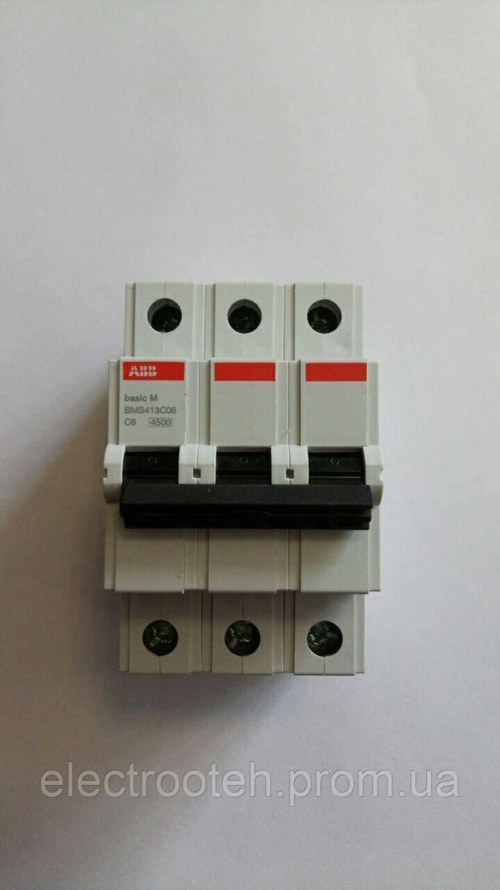 Автоматический выключатель ABB (3Р, 6 А, C) 4.5 кА