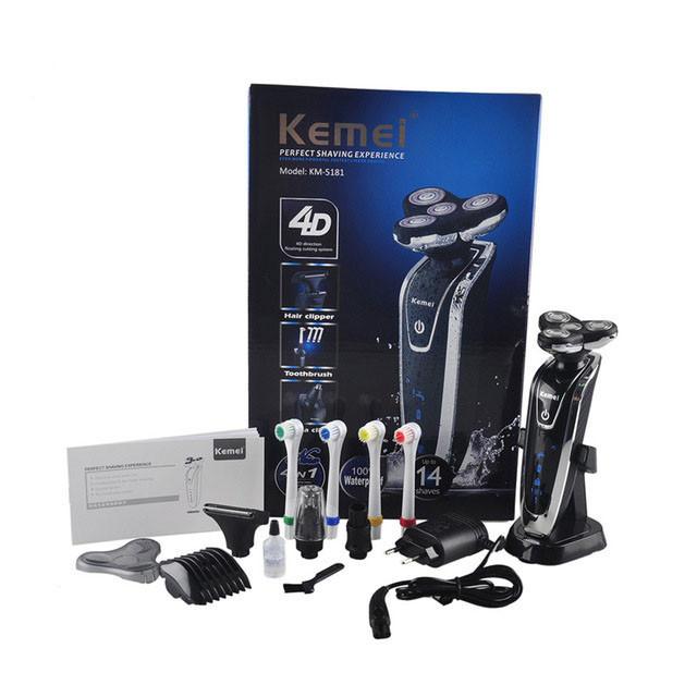 Электробритва Kemei Km-5181 4 в 1 триммер машинка зубная щетка Kemei 5181 бритва аккумуляторная Kemei