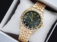 Женские наручные часы Rolex золотого цвета с черным циферблатом, метки в виде звездочек, фото 1