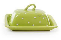 Масленка зелёная в белый горошек BonaDi 593-208