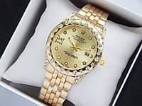 Жіночі наручні годинники Rolex золотого кольору з золотистим циферблатом, мітки у вигляді зірочок, фото 1