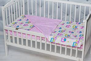 """Комплект постельное белье в кроватку ребенку  двухцветное """"Розовые совы """""""
